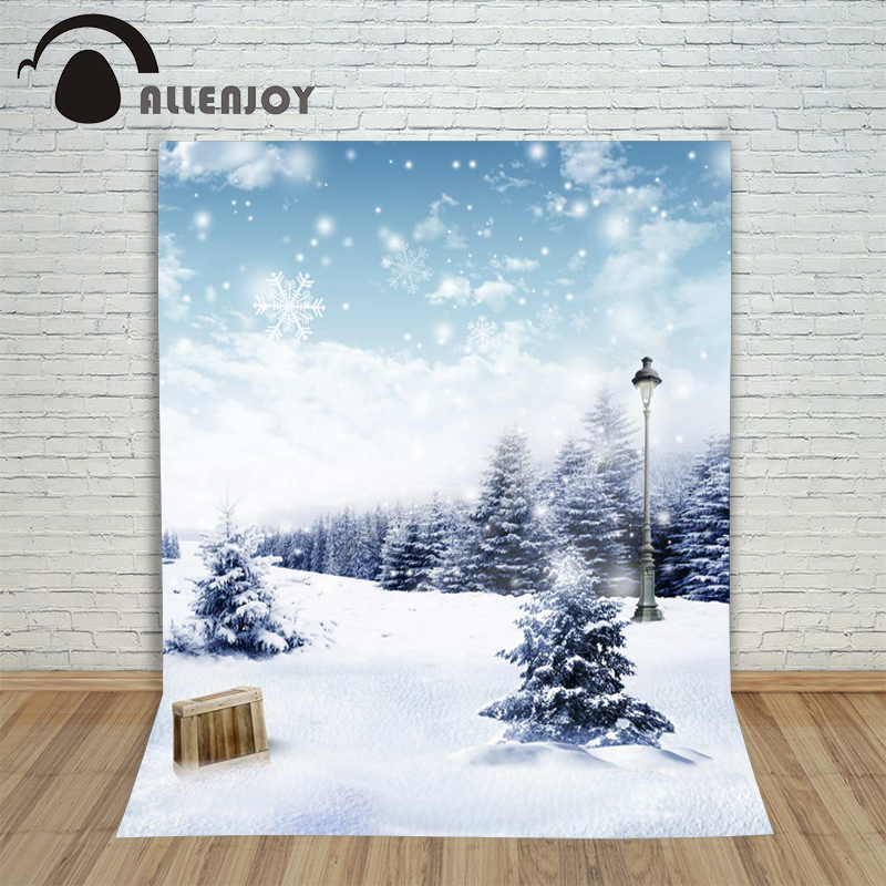 6.5ftx10ft Snow Background Photography backdrops pine street light ice and snow Studio For baby Interior romantic winter Photos white stage background snow pine snow blue sky festival background wedding photography backdrops