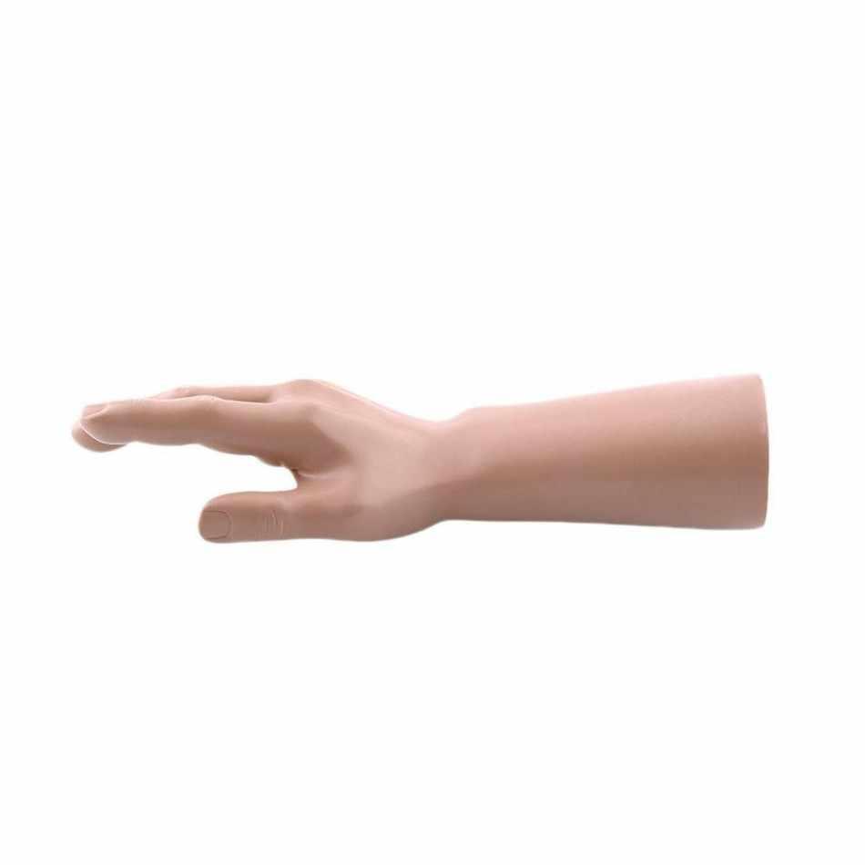 VividผิวสีMannequin Hand ManสีเหลืองMannequinเครื่องประดับเล็บตู้โชว์นาฬิกาสร้อยข้อมือถุงมือขาตั้งจอแสดงผลมือ