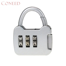 Coneed путешествия сбрасываемый 3 цифры безопасной Комбинации Чемодан товара чемодан замок Juy13 38