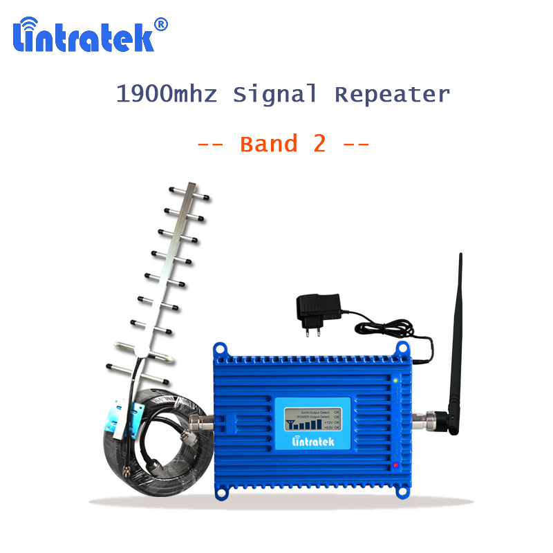 lintratek 2G 3G 1900mhz Signal Repeater Celullar Amplifier with 10m cable PCS 1900 repetidor Band 2