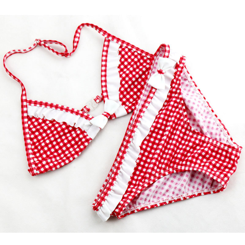 2018 Hot Sale Big Girls Bikini Set Søt Plaid Ruffles To Pieces Badedrakt For Teenage Girl Badetøy Wtih A Bowknot 6-16Y