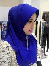 2017 Promotion Women Muslim Hijab Inner Cap Sale New Adult Plain Hijabs Tassel Chiffon Formal Women's Contracted Yarn
