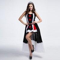 VASHEJIANG Alice In Wonderland Queen Of Hearts Adult Halloween Costume Carnival Party Queen Costumes For Women