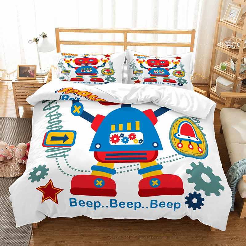 US 40 OFF Boy 3d Robot Bedding Set Single Size Luxury Duvet Cover Sets Pillowcase Kids Bed Set Microfiber Fabric In Bedding Sets From Home