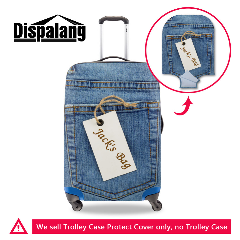 Dispalang Pocket Pattern Elastic Travel Luggage Protective Covers Denim  Stretch Suitcase Protect Cover Apply to 18-30 Inch Case 3513400d9b35c