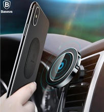 BASEUS Brand 2 in 1 Mobile Phone Car Mount + Qi Wireless Charging Charger For iPhone X 8 Plus, 360 Rotation Magnetic Car Holder
