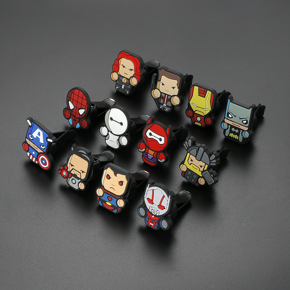 12pcs/set Car Ornament Automotive Decor Cartoon Air Freshener For Marvel Avengers Hero Figures Auto Vent Perfume Fragrance Clip car outlet perfume air freshener with thermometer lime