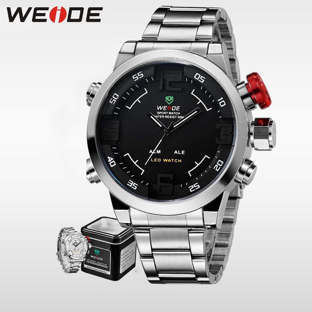 WEIDE Watches Men Top Brand Fashion Watch Quartz Stainless Steel Band alarm Clock relogio masculino Army Sports Analog Casual weide luxury brand quartz sport relogio digital masculino watch stainless steel analog men automatic alarm clock water resistant