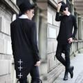 Moda Para Hombre de la Cruz de Algodón Extendido Camisetas Homme Diseñador de la Marca Masculina Camisa de Manga Larga 2016 Otoño Invierno Nuevo