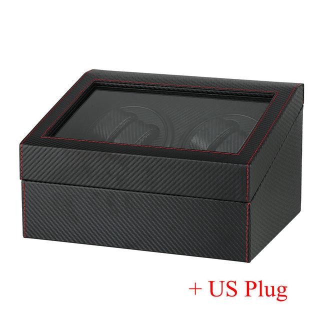 US/UK/AU/EU Plug Automatic Mechanical Watch Winders Black 4+6 Collection Watch Display Box Black Quiet Motors Storage Boxes | Watch Boxes