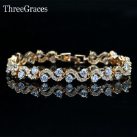Nigerian CZ Charm Bracelet Gold Plated Synthetic White Cubic Zirconia Diamond S Connect Chain Bracelets Bangles