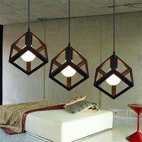 2017 Modern Pendant Lamp E27 Edison Bulb Pendant Light Metal Cube Cage Lighting Hanging Drop Light