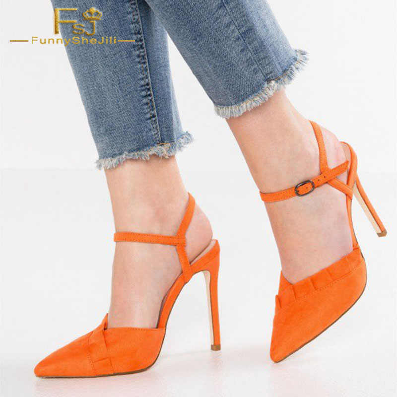FSJ Women Classy Pointed Toe Thin High Heels Slingback Pumps Office Prom Dress Shoes Size 4 15 US