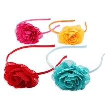 Candygirl 8 Colors Soft Chiffon Rose Flower Headbands Cute Hair Hoop Big Floral Elastic Handmade Headwear Girls Accessories