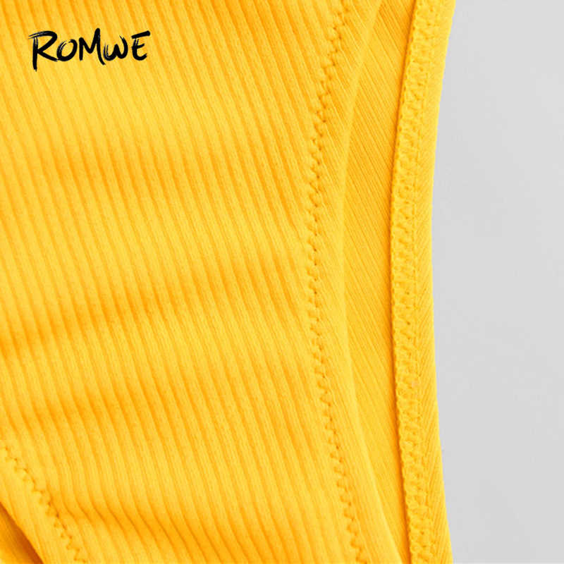 3e16841726d7c ... Romwe Sport Adjustable Straps Bikini Set Yellow Chest Pad Women Bathing  Size Swimwear Separation Piece Summer ...