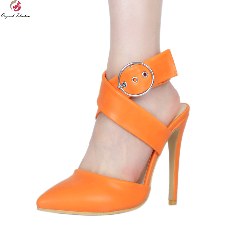 Zapatos Dedo Atractivas Naranja Mujer 2018 Sandalias Tacones 4 Moda Mujeres Altos Intención Punta 15 Ee Fino Más uu Pie Ef0935 Nuevas Tamaño Original Del t8qwZFx6a