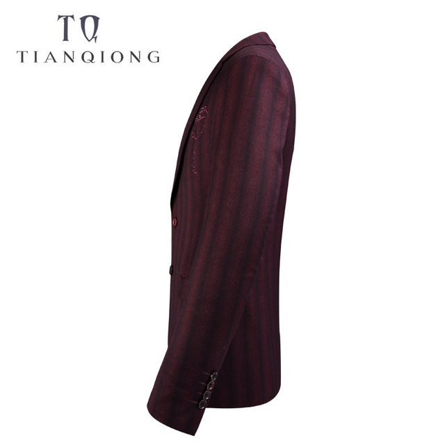 TIAN QIONG 2018 New Spring Brand Casual Stripe Blazer Jacket Men Korean Suit Male Wedding Dress Slim Fit Darkred Blazer Coat Man