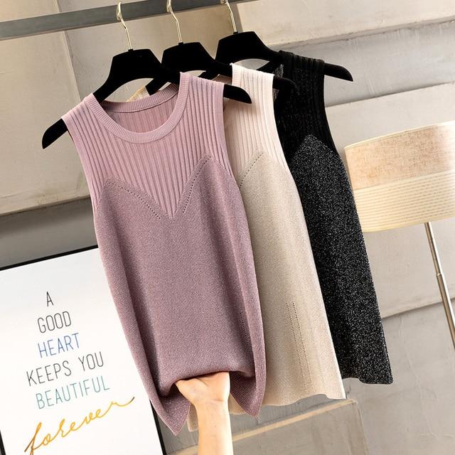 Korobov Summer Sleeveless Vest Sweater O-Neck Lurex Knitted Pullovers Tops Female Korean Thin Solid Women Tank Jumper 78593 2