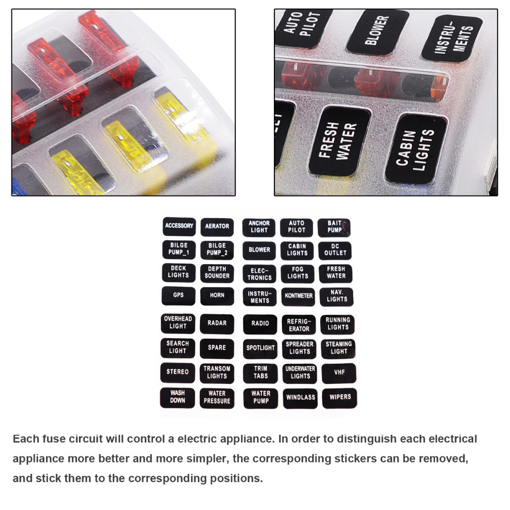 Max 32V Plastic Cover 12 Way Blade Fuse Box Holder M5 Stud with LED Indicator for max 32v plastic cover 12 way blade fuse box holder m5 stud with rv plastic fuse box cover at bayanpartner.co