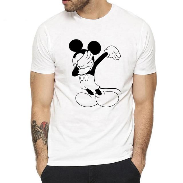 Nova Enxugando Mickey Mouse T-Shirt Novos Homens Camisas Engraçadas de T 2019 Moda Verão Enxugando Cupido/Dragon Ball/unicórnio /tigre Partes Superiores Legal