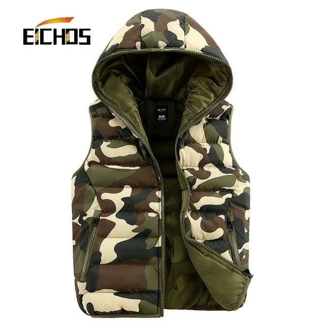 Mens Camouflage Vest 2015 Winter Lovers Camouflage Style Hooded Vests Casual Slim Sleeveless Jacket Men 3 Colors Camo red blue