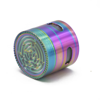 1PC Top Quality Fancy Maze Herb Grinder 4 Side Windows Metal Zinc Alloy 63mm 4 Layers Tobacco Grinder Smoke Herbal Crusher