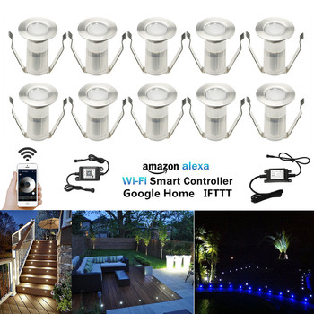 10Pcs 12V Smart WIFI Controller Dimmer Timer 19mm LED Deck Step Stair Kitchen Patio Lights Low Voltage for Alexa Google Home