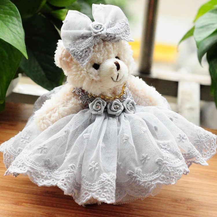 1 шт. бутик 15 см плюшевый медведь с жемчугом бархат медведь кружева, вода алмаз пенг юбка плюшевые брелоки игрушки девушки сумка Автомобильная клипса