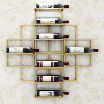 8 ขวดยุโรปโมเดิร์นติดผนังไวน์ Rack Creative แขวนไวน์สนับสนุนสีแดงตกแต่งไวน์ Rack ไวน์ผู้ถือ - DISCOUNT ITEM  20% OFF บ้านและสวน