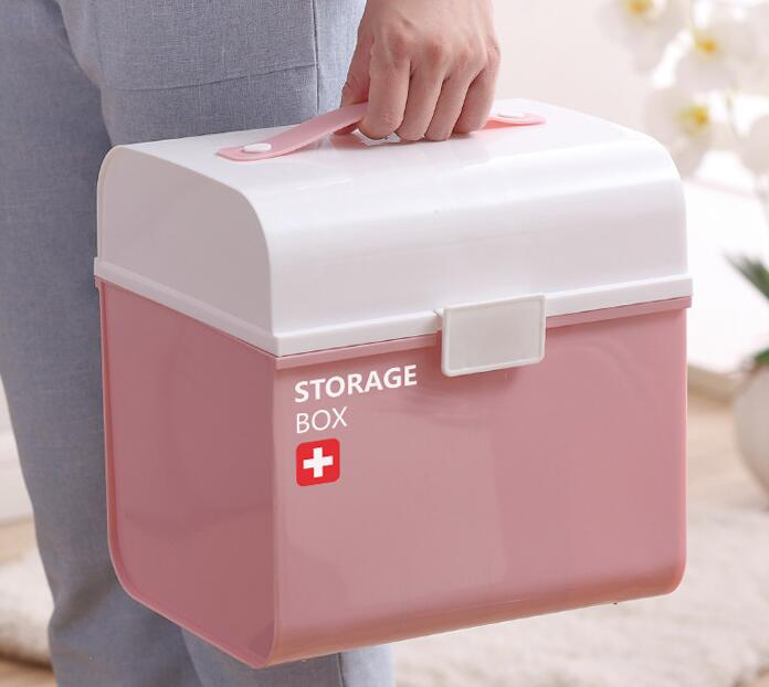 Multi-function portable plastic household multi-layer emergency medicine box multi-function multi function green