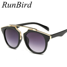 RunBird New Fashion Cat Eye Glasses Vintage Sunglasses Women Men Brand Designer Coating sunglass For Ladies Gafas Oculos YJ059
