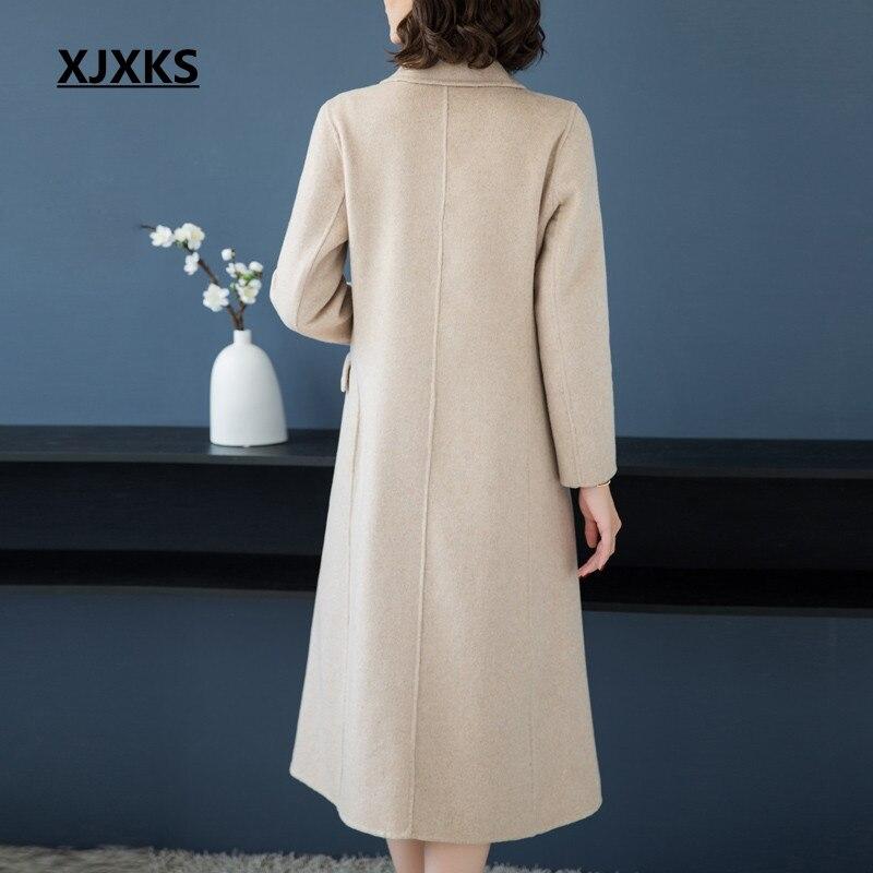 Elegante 2018 Poitrine Mode Unique De Femme Mujer Nouvelle Xjxks Arrivée Long kaki Manteaux Laine Manteau rose Femmes Abrigos D'hiver Gris qcZWPPt7