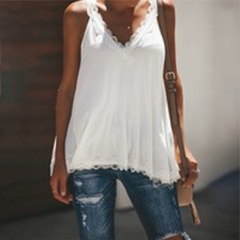 Women V neck Tank Top Casual Lace Patchwork Top Summer Sleeveless Vests Plus Size in Tank Tops from Women 39 s Clothing