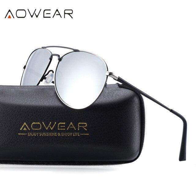 8403f34b1 AOWEAR 2017 Dos Homens Óculos Polarizados Marca Designer Cor Filme  Polarizador de Condução Do Carro Sol UV 400 óculos sol hombre