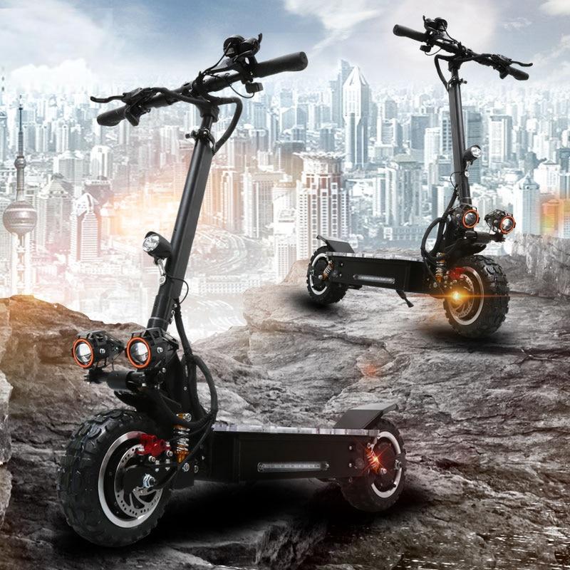 Spor ve Eğlence'ten Elektrikli Scooterlar'de 60v 3200W güçlü elektrikli scooter maksimum üzerinde 65 80KM 60V 30A lityum pil Katlanır elektrikli kaykay 60v motor tekerlek title=