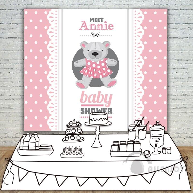 Filles anniversaire bébé douche ours en peluche bannière toile de fond Invitation célébration événement fête fond rose cercle blanc Allenjoy