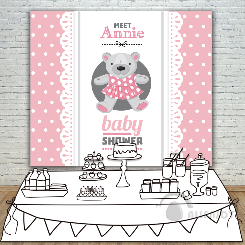Girls Birthday Baby Shower Teddy bear Banner Backdrop Invitation celebration Event Party Pink Background White Circle Allenjoy allenjoy backdrop background wonderland