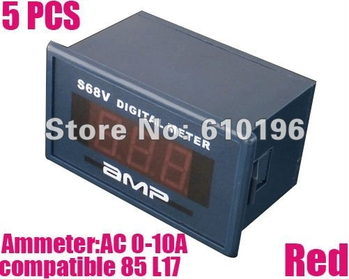 5PCS Red AC 0-10A Readout Alternating Current Digital Panel Ammeter