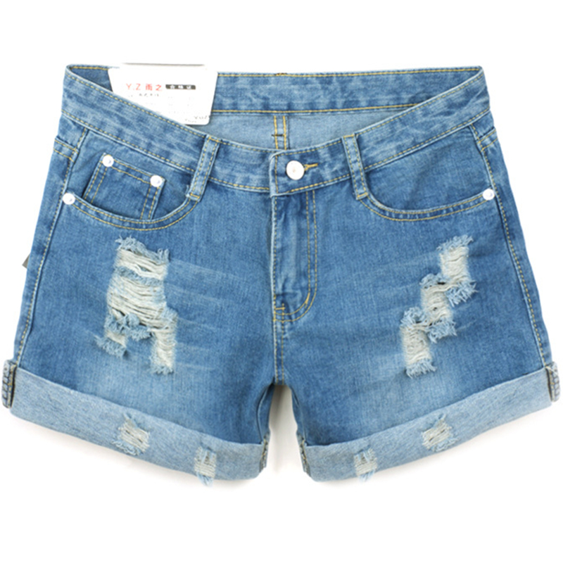 Foreign trade original single large size Lady denim shorts fashion loose Women Hole bead Blue Women Short Jeans 26-36 Z1939