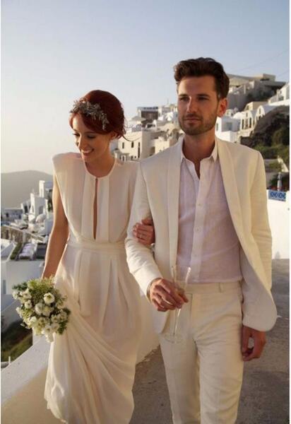 Men Ivory Summer Beach Linen Suit Groom Tuxedos Wedding Prom Casual Suit Custom