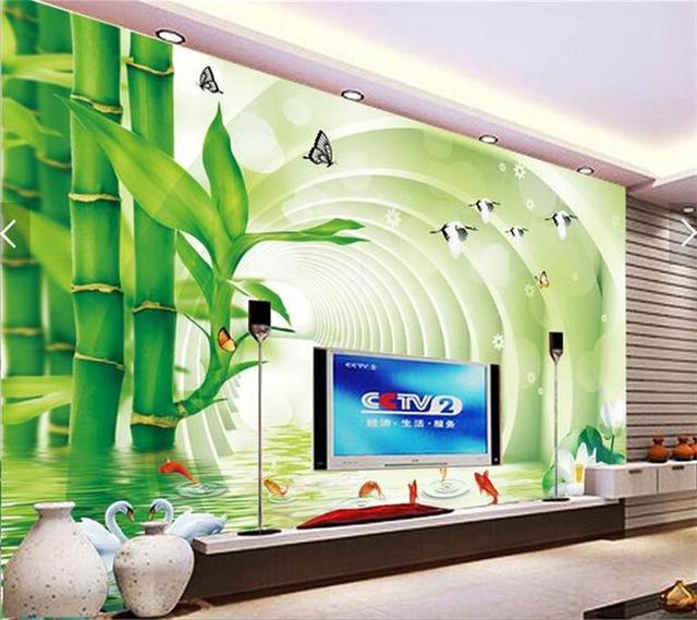 3d wallpaper 2017 custom mural photo wallpaper nine fish for Bamboo mural wallpaper