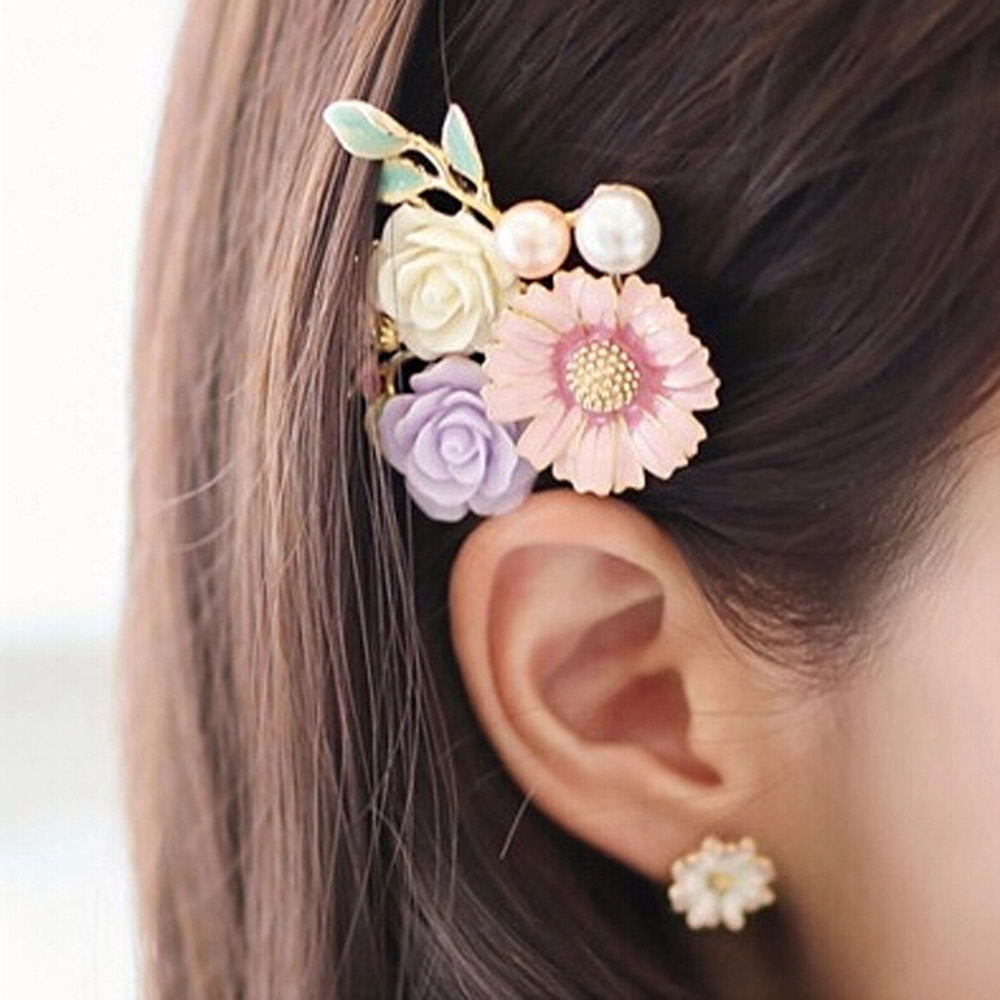 1PC Vintage Flower Design Hairpins Alloy Enamel Sunflower Barrettes Women   Headwear   Wedding Hairs Ornaments Hair Clip Accessories