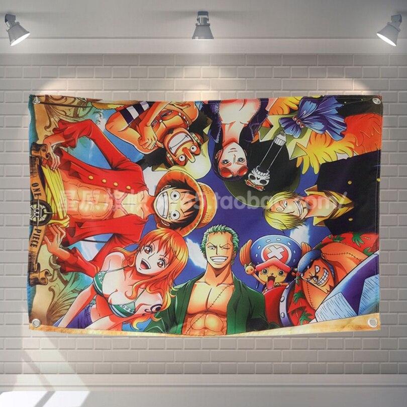 One Piece Anime films classiques tissu drapeau bannières & accessoires Bar billard Hall Studio thème tenture murale décoration