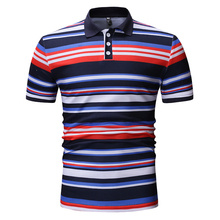 YASUGUOJI New 2019 Summer Streetwear Short Sleeve Polo Shirt Men Fashion Striped Contrast Color Men Polo Shirt Casual Polos недорого