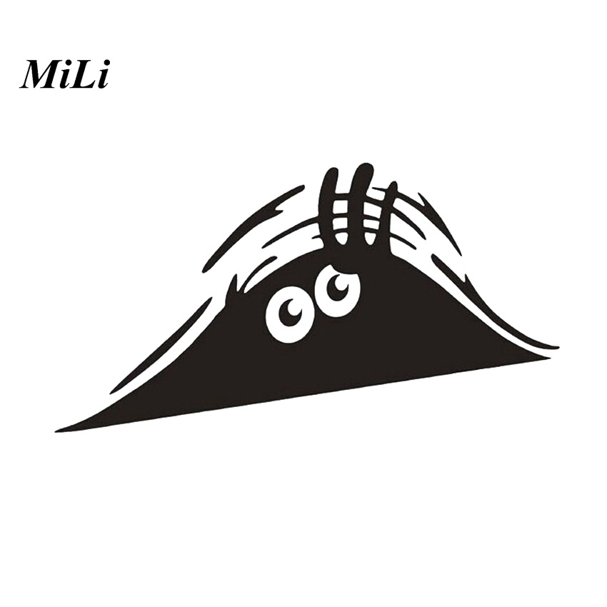 MILI Funny Peeking Monster Auto Car Wall Windows Sticker Reflective Waterproof Car Decals Car Stickers Styling Black Car styling