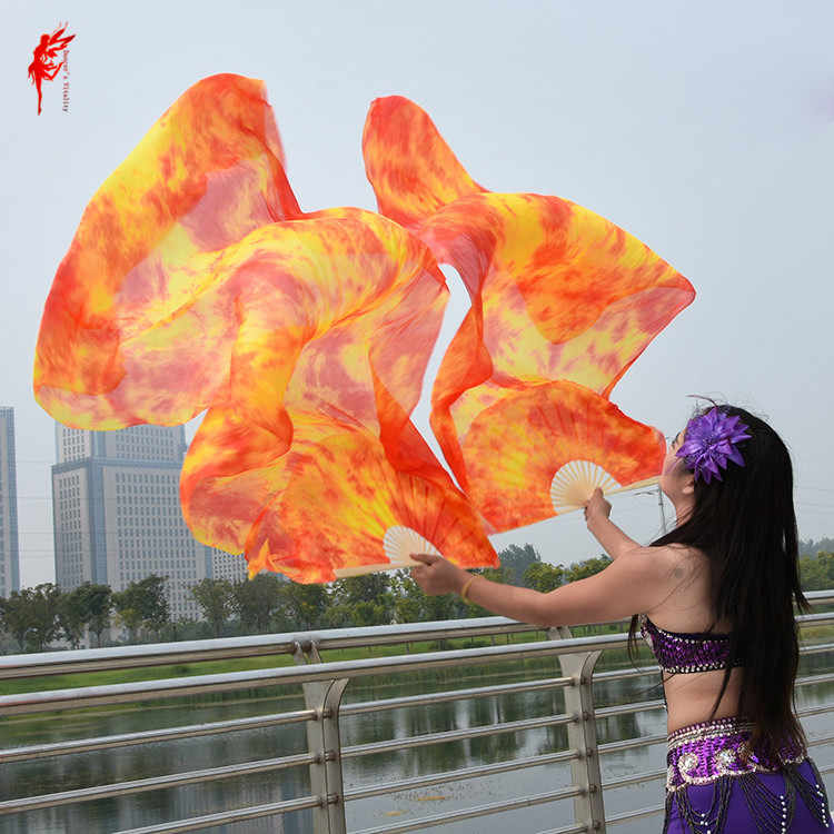 Dyed 100% pure natural silk fan veils for women belly dance performance fan belly dance costumes and accessories A pair