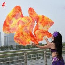 염색 100% 순수 천연 실크 팬 베일 여성 밸리 댄스 성능 팬 밸리 댄스 의상 및 액세서리 쌍