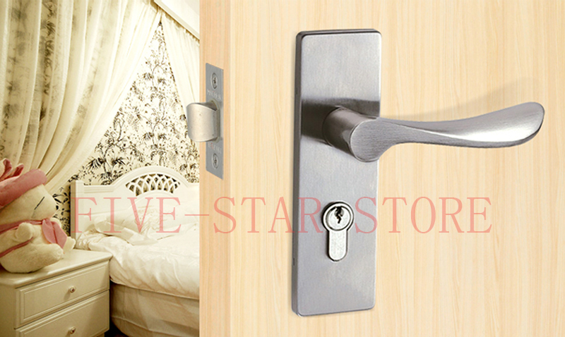 SUS304 Stainless Steel Modern Design Wood Door Lock Interior Handle  Doorlock Single Latch Bathroom Bedroom Door Lock Turn Button In Locks From  Home ...