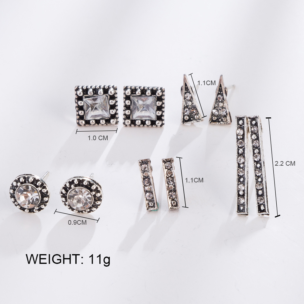 HOCOLE 5 Pairs Set Vintage Crystal Stud Earrings Silver Color Geometic Triangle Square Earrings Set For Women Jewelry Brincos in Stud Earrings from Jewelry Accessories