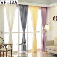 Translucidus Thickening White Yellow Purple Grey Curtain Linen Finished Products Window Screening Balcony Shade